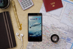 Applicazione di Malaysia Airlines Fotografia Stock Libera da Diritti