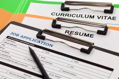 Applicazione di occupazione con il cv immagine stock