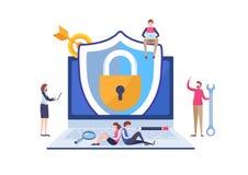 Applicazione di protezione di sicurezza di antivirus Rete di trasmissione di dati di lavoro del programmatore Vettore miniatura d royalty illustrazione gratis