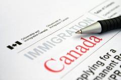 Applicazione di visto canadese Fotografie Stock Libere da Diritti