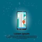 Applicazione mobile di navigazione dei Gps dello Smart Phone delle cellule Fotografie Stock