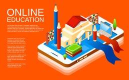 Applicazione online isometrica di istruzione di vettore illustrazione di stock