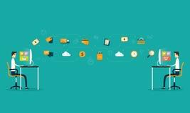 Applicazione sociale del rapporto d'affari ed acquisto online Fotografia Stock Libera da Diritti
