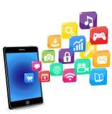 Applicazioni astute del telefono su un bianco Fotografia Stock
