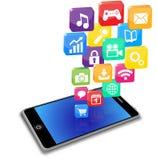 Applicazioni astute del telefono su un bianco Fotografie Stock