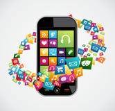 Applicazioni del cellulare di Smartphone Fotografia Stock