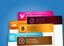 Applicazioni di musica sul visualizzatore del computer Immagine Stock