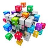 Applicazioni e concetto mobili di tecnologia di mezzi d'informazione Immagini Stock Libere da Diritti
