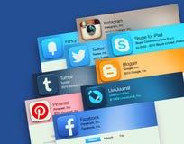 Applicazioni popolari della rete sociale Fotografia Stock