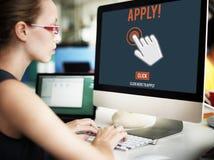 Applicera applicerar här online-Job Concept Royaltyfri Fotografi