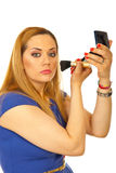 applicera den blonda rodnadkvinnan fotografering för bildbyråer