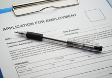 Applicera för nytt jobb vid ansökningshandlingen Fotografering för Bildbyråer