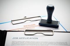 Applicera för nytt jobb vid applikation och återuppta dokumentet arkivfoto