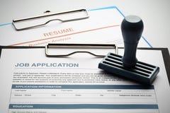 Applicera för nytt jobb vid applikation och återuppta dokumentet royaltyfria bilder