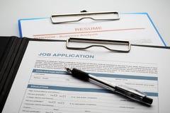 Applicera för nytt jobb vid applikation och återuppta dokumentet fotografering för bildbyråer
