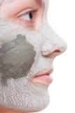 applicera genomskinlig fernissa för omsorgshud Kvinna som applicerar leramaskeringen på framsida Arkivbild