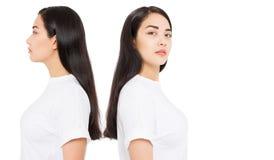 applicera genomskinlig fernissa för omsorgshud Profilståendecollage av den asiatiska flickan för brunett med långt och skinande r royaltyfri fotografi