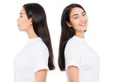 applicera genomskinlig fernissa för omsorgshud Profilståendecollage av den asiatiska flickan för brunett med långt och skinande r arkivbilder