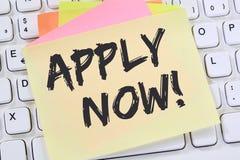 Applicera nu jobb, för rekryteringanställda för jobb funktionsduglig conce för affär royaltyfri bild