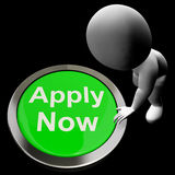 Applicera nu knappen för arbete Job Application Arkivbilder