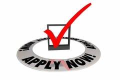 Applicera nu kontrollen Mark Box Application Words Royaltyfri Illustrationer