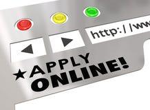 Applicera online-ansökningsblankett för Websiteinternetwebbläsaren Royaltyfria Bilder