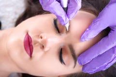 Applicera permanent smink på ögonbryn i skönhetstudio arkivbild