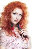 applicerad effekt filters hårredkvinnan fotografering för bildbyråer