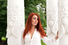 applicerad effekt filters hårredkvinnan Royaltyfri Bild