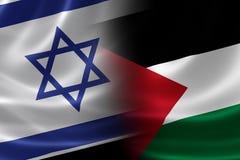 Applicerad israel och palestinsk flagga Arkivbild
