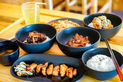 Applied Japanese tradition food set with Thai food style in the restaurant stock photos