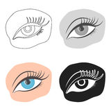 Applied mascara icon in cartoon style isolated on white background. Make up symbol stock vector illustration. Royalty Free Stock Photography