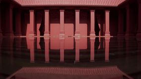 The applied Modern - Vintage red pole and building reflexion light from the water pool.