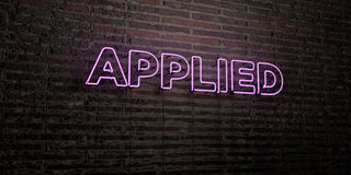 APPLIED -Realistic Neon Sign on Brick Wall background - 3D rendered royalty free stock image. Can be used for online banner ads and direct mailers Stock Photo