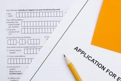 Applikation för anställning royaltyfri bild