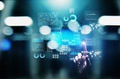 Applikation för investering för handel för strategi för marknadsföring för affärsintelligens på den faktiska skärmen begrepp isol royaltyfri illustrationer