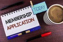 Applikation för medlemskap för ordhandstiltext Affärsidé för att registreringen ska sammanfoga en laggrupp eller organisation som arkivfoto