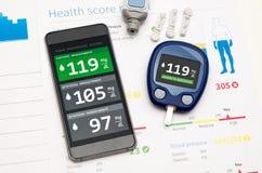 Applikation för sockersjuka på smartphonen Fotografering för Bildbyråer