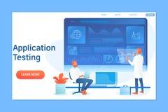 Applikation som programmerar och testar med tecken Plan vektorillustration royaltyfri illustrationer