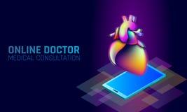 Applikationer för mobil för doktorsonline-läkarundersökningapp Vätska 3D för färg för lutning för Digital sjukvårdmedicin ljus vi Arkivfoto