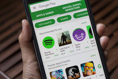 Applikationer i Google lek arkivbild