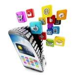 Applikationer som nedladdar i smartphone Royaltyfri Bild