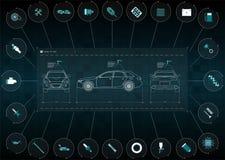 Applikationmanöverenheten för reparationen och underhållet av automatiska delar Bilframdel-, baksida- och sidosikter Infographics vektor illustrationer