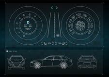 Applikationmanöverenheten för reparationen och underhållet av automatiska delar Bilframdel-, baksida- och sidosikter Infographics royaltyfri illustrationer