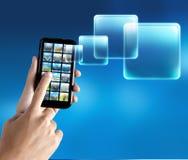 applikationmobiltelefon Fotografering för Bildbyråer