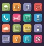Applikationrengöringsduksymboler i plan design med långa skuggor Arkivfoto