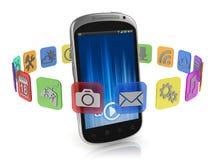 Applikationsymboler runt om den smart telefonen - app-begrepp stock illustrationer