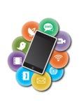 applikationsymbolstelefon Fotografering för Bildbyråer