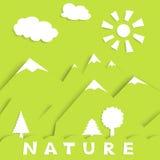 Applikatsija_nature_green. Nature concept - green wood, mountains sun and clouds,  illustration, EPS10 Royalty Free Stock Photo