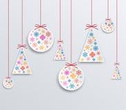 Applique бумаги рождества и Нового Года снежинок иллюстрация вектора